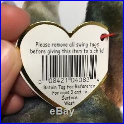 1996 TY Beanie Baby CLAUDE The Crab #4083, two most important TAG ERRORS! RARE