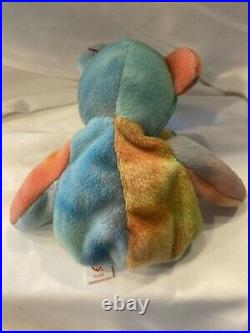 1996 TY Beanie Baby PEACE Bear Style 4053 RARE Production and Tag Errors