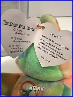 1996 Ty Peace Beanie Baby Retired Rare Rainbow With Errors