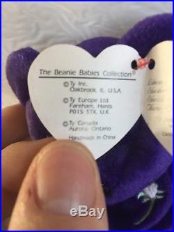 1997 Ty Beanie Baby PRINCESS the Diana Bear RARE & RETIRED with ERROR