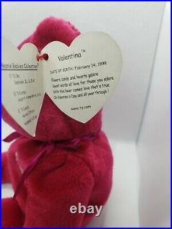 1998 VALENTINA the Ty Beanie Baby Bear MINT, TAG ERRORS, RARE, Ships FREE