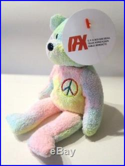 Authenticated PROTOTYPE Ty Pastel PEACE Bear with TERRY CLOTH Fabric ULTRA RARE