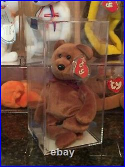 Authenticated Rare New Face BROWN TEDDY Bear 2nd/1st Gen Ty Beanie Baby