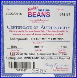 Authenticated TY Beanie Baby SHAMPOODLE Rejected Canceled ULTRA RARE MWMT MQ