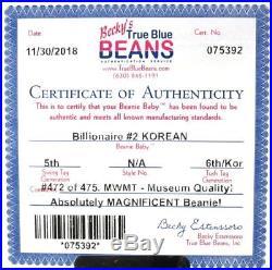 Authenticated TY WARNER Signed Korean BILLIONAIRE 2 Beanie ULTRA RARE MWMT MQ