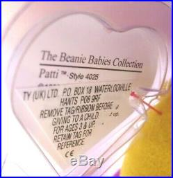 Authenticated Ty Beanie 1st Gen UK Sticker DEEP FUCHSIA PATTI Ultra Rare MWMT MQ