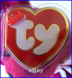 Authenticated Ty Beanie Baby 3rd / 1st Gen NEW FACE MAGENTA Teddy RARE & MWMT MQ