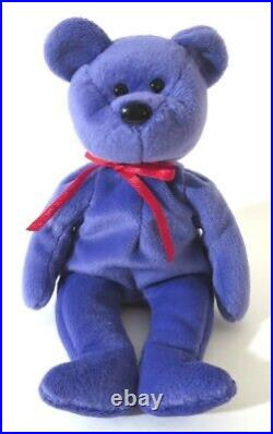 Authenticated Ty Beanie Baby Violet EMPLOYEE TEDDY with RED Ribbon Ultra Rare MQ