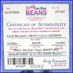 Authenticated Ty Beanie GERMAN 3rd / 1st Gen CORAL MWMT MQ Magnificent & Rare