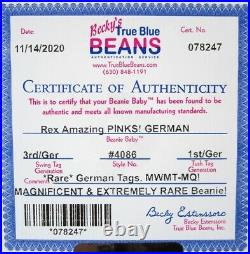 Authenticated Ty Beanie GERMAN 3rd / 1st Gen REX Magnificent MWMT MQ & Rare