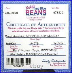 Authenticated Ty Beanie KOREA KOREAN 3rd / 1st Gen CORAL Ultra Rare & MWMT MQ