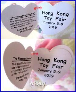 Authenticated Ty Flippables 2019 HONG KONG TOY FAIR Pig SET MWMT MQ Ultra Rare