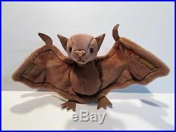 BATTY TY BEANIE BABY-RARE 1996 BATTY THE BAT TY BEANIE BABY-PVC PELLETS WithERROR
