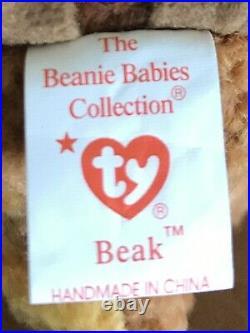 BEAK the Kiwi Bird Ty Beanie Baby TAG ERRORS, ORIGINAL, MINT, & RARE