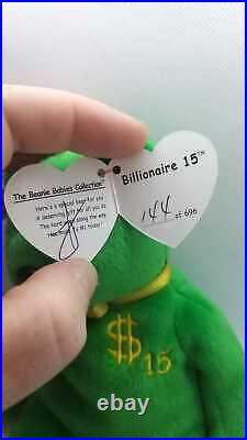 Beanie Baby Babies Billionaire 15 Bear MWMT Signed by TY Warner RARE #144 of 696