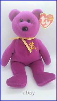 Beanie Baby Babies Billionaire 15 Bear MWMT Signed by TY Warner RARE #456/611