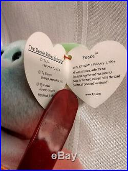 Beanie Baby Peace Bear Rare tag errors! Vintage 1996