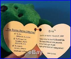 Beanie babies RARE Retired Green Irish Erin Bear