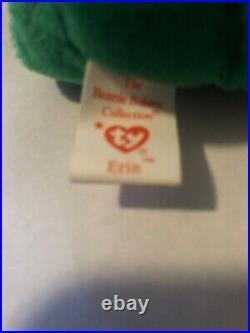 Beanie babies RARE Retired Green Irish Erin Bear with Errors