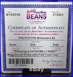 Billionaire Bear #2 Prototype Extremely Rare Ty Beanie Baby