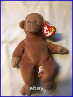 Bongo Monkey TY Beanie Baby Rare Many Errors PVC Tan Tail