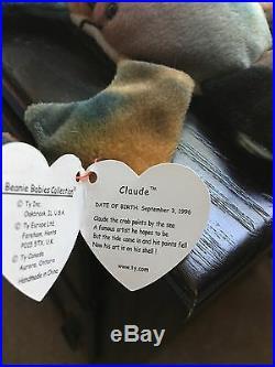 Claude Beanie Baby with 2 Rare Errors