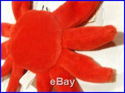 EXTREME RARE 2 diff'nt SZ EYES 1 ed DIGGER the Crab TY Beanie Baby TAG ERRORS