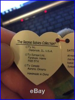 EXTREMELY RARE ERRORS TY Beanie Babies Peace Bear Retired tag Suface Origiinal