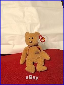 6d799b3d1ce EXTREMELY RARE Ty Beanie Baby Curly  Retired Bear with MANY Errors-MINT-