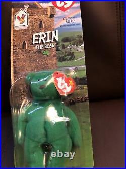 Erin The Bear 1997 McDonalds Ty Beanie Baby with Rare Errors 1993 OakBrook