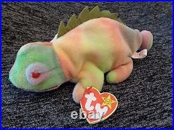 Extreamly Rare 1997 Rainbow Iggy Beanie Babies with Errors