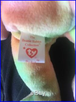Extremely Rare Errors TY Beanie Babies Peace Bear with Tag Retired