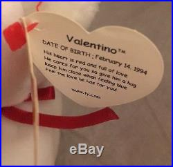 Extremely Rare MWMT 1993 TY Valentino Beanie Baby with Swing Tag Errors PVC