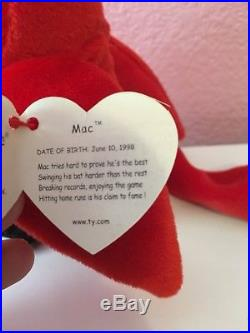 Extremely Rare TY Beanie Baby Mac The Cardinal With All Errors NM