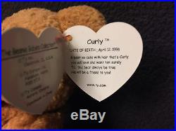 Extremely Rare Ty Beanie Babies Curly Read Listing For Errors Tag Cover  Included e5019365d69