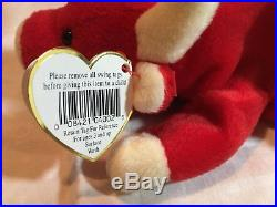 Extremely Rare Vintage 1995 Snort Ty Beanie Baby Red Bull Plushie With Tag