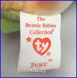 Extremely rare 1996 Ty Beanie baby Babies Peace Bear with all errors Mistakes