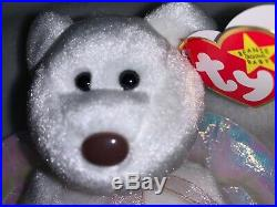 MINT RARE Halo Beanie Baby Retired with Rare Brown Nose, Tag Errors