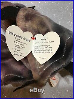MINT Ty Beanie Baby Batty the Bat Tie Dye! RARE with ERRORS! 1996/1998 #217