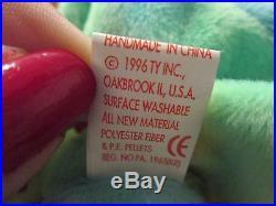 MWMT Peace Bear TY original beanie baby RETIRED double misprint hang tag rare 96