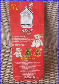 Maple The Bear-1996 McDonalds Ty Beanie Baby w Rare Errors 1993, Oak Brook