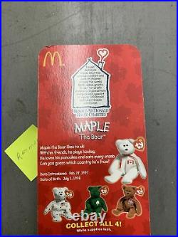 Maple The Bear-1996 McDonalds Ty Beanie Baby with rare errors 1993, OakBrook