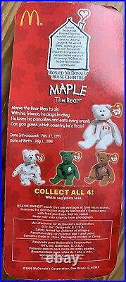 Maple The Bear-1999 McDonalds Ty Beanie Baby with rare errors 1993, OakBrook