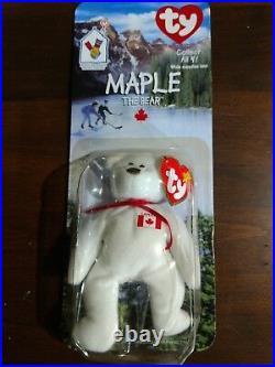Maple The Bear w Errors Ty Beanie Babies NIB OAKBROOK rare