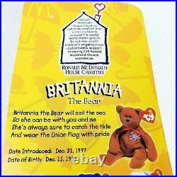 McDonald TY Beanie Britannia The Bear RARE WITH 2 TAG ERRORS AND 1 FLAG ERROR