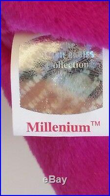 Millennium Bear Ty Beanie Baby Rare Retired BB Bear 10 Mill