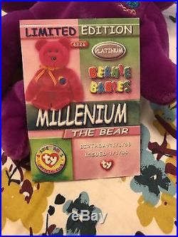 Millennium Limited Bear Retired 1999 Very Rare Ty Beanie Babies