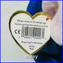 Mint, Rare 1995 Royal Blue Peanut Elephant Beanie Baby with Display Case