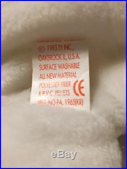 NEW Rare Retired Ty Beanie Baby 1993/4 Valentino Bear Original 4058 PVC Errors