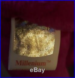 NEW Ty Beanie Baby Millennium Bear RARE ERRORS Millenium Mispelled Gasport 1999